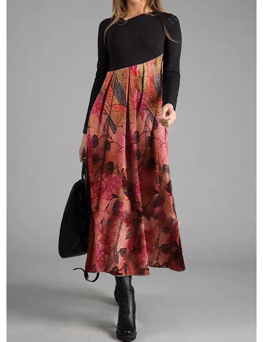 Women's Daily Wear Elegant Asymmetrical A Line Dress - Geometric V Neck Black M L XL XXL