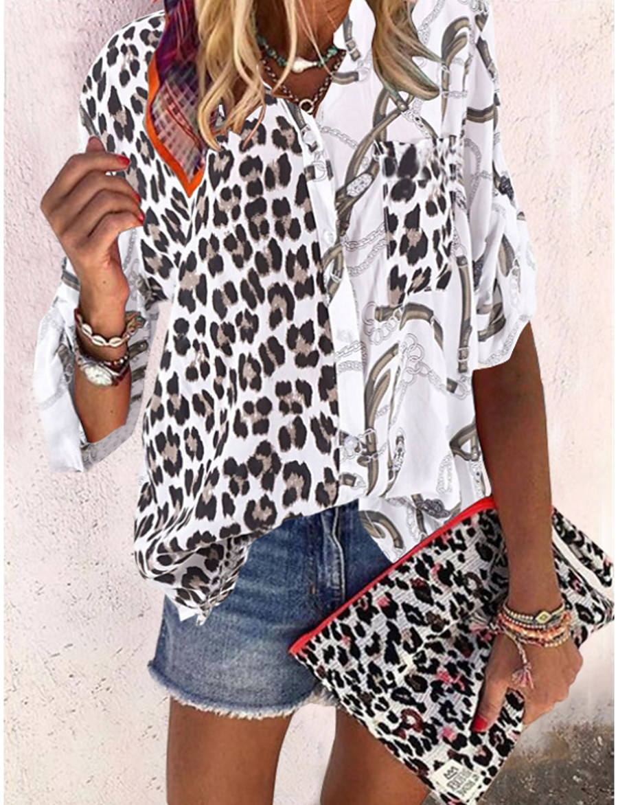Women's Leopard Blouse Causal Daily V Neck White / Black / Army Green / Gray