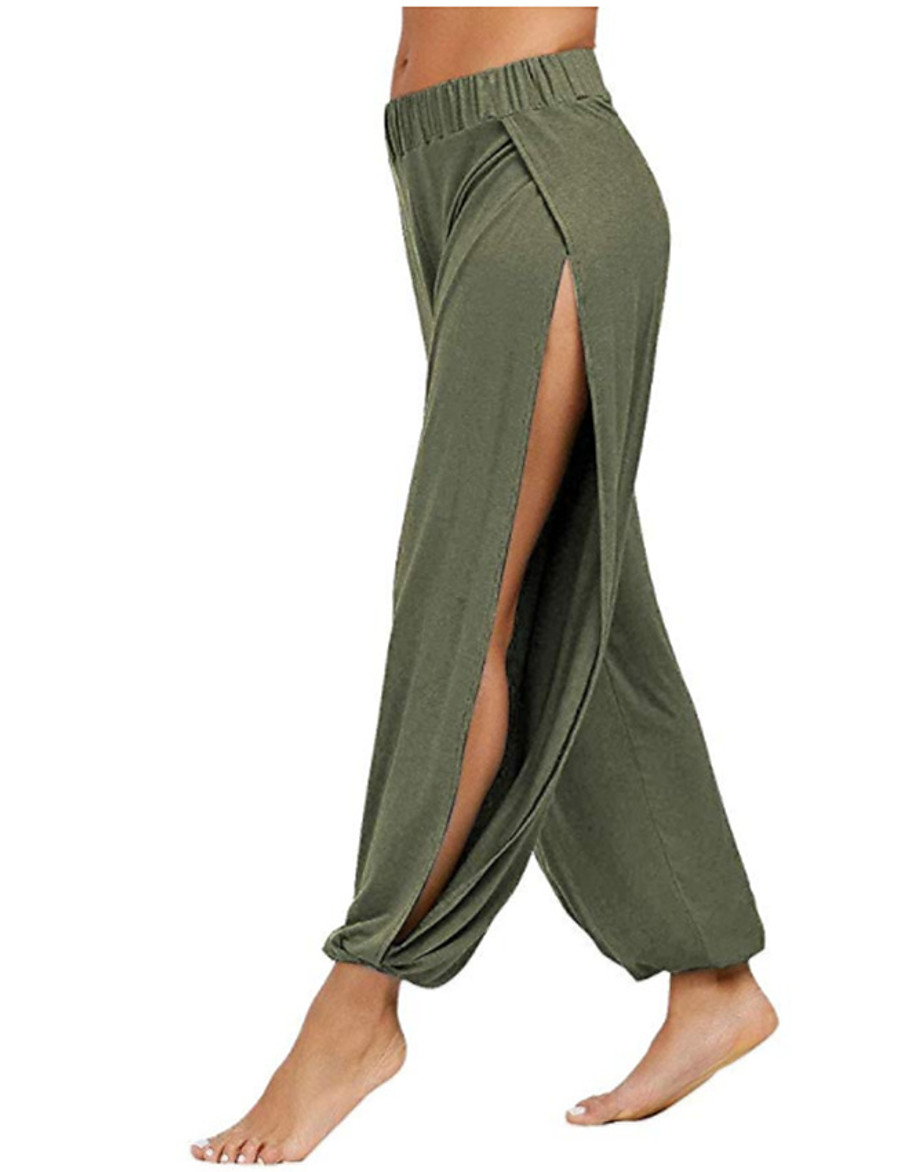 Women's Basic Comfort Loose Daily Harem Pants Solid Colored Full Length Classic High Waist Blue Khaki Green