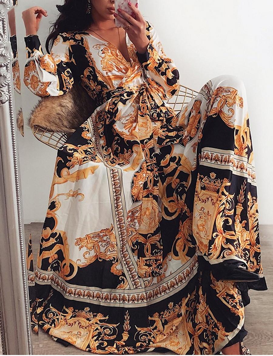Women's Swing Dress Maxi long Dress Brown Long Sleeve Print Geometric Print Fall Spring Deep V Classic & Timeless Hot Holiday Holiday Going out 2021 S M L XL XXL 3XL