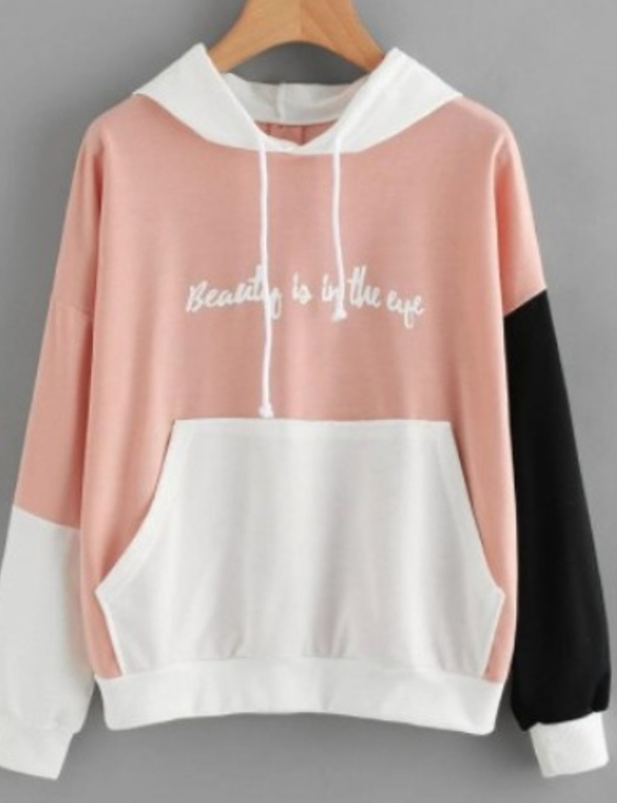Women's Basic Hoodie - Color Block Blushing Pink S