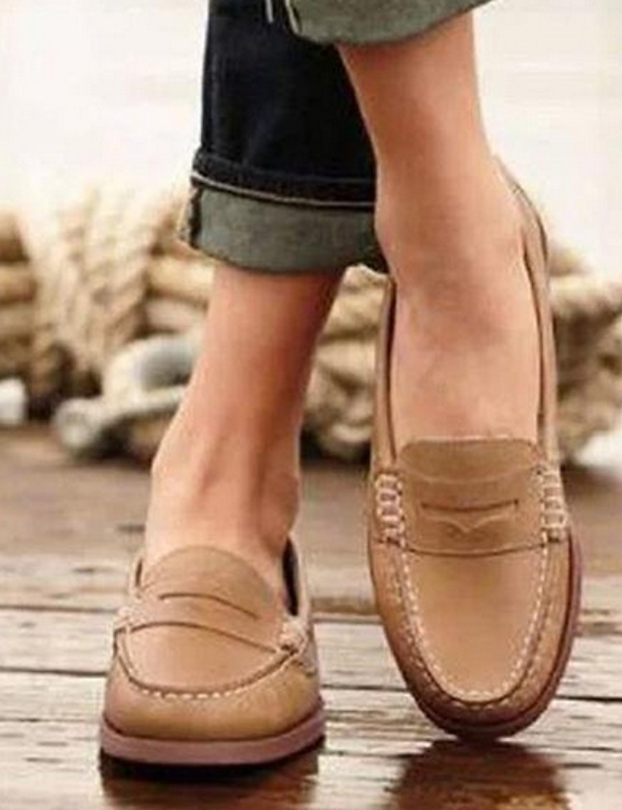 Women's Loafers & Slip-Ons Flat Heel Round Toe PU Fall & Winter Black / Brown / Khaki