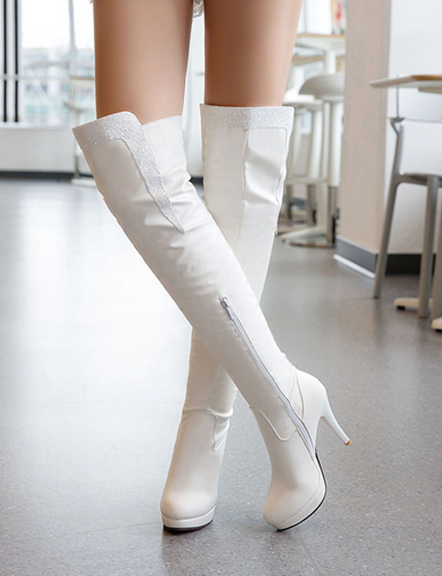 Women's Boots Knee High Boots Stiletto Heel Round Toe PU Knee High Boots Fall & Winter Black / White