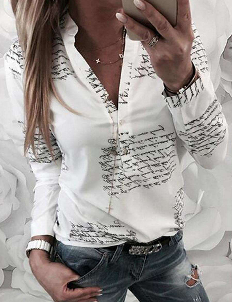2019 New Arrival T-shirts Women's T-shirt - Letter V Neck White Camisas Mujer Chemise Femme XL