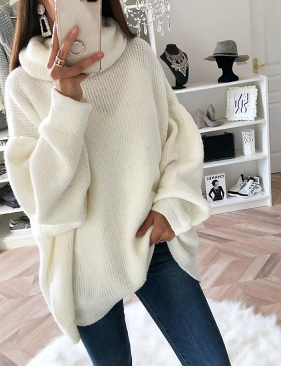 Women's Solid Colored Pullover Jumper Long Sleeve Sweater Cardigans Turtleneck White Blushing Pink Brown