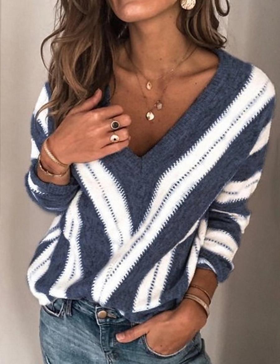 Women's Striped Long Sleeve Plus Size Pullover Sweater Jumper, V Neck Winter Wine / Purple / Blue S / M / L