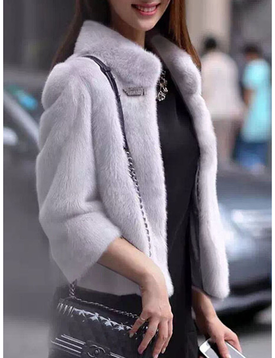 Women's Party / Holiday Basic Fall & Winter Regular Faux Fur Coat, Solid Colored Stand Long Sleeve Fox Fur / Raccoon Fur Patchwork Black / White / Blushing Pink