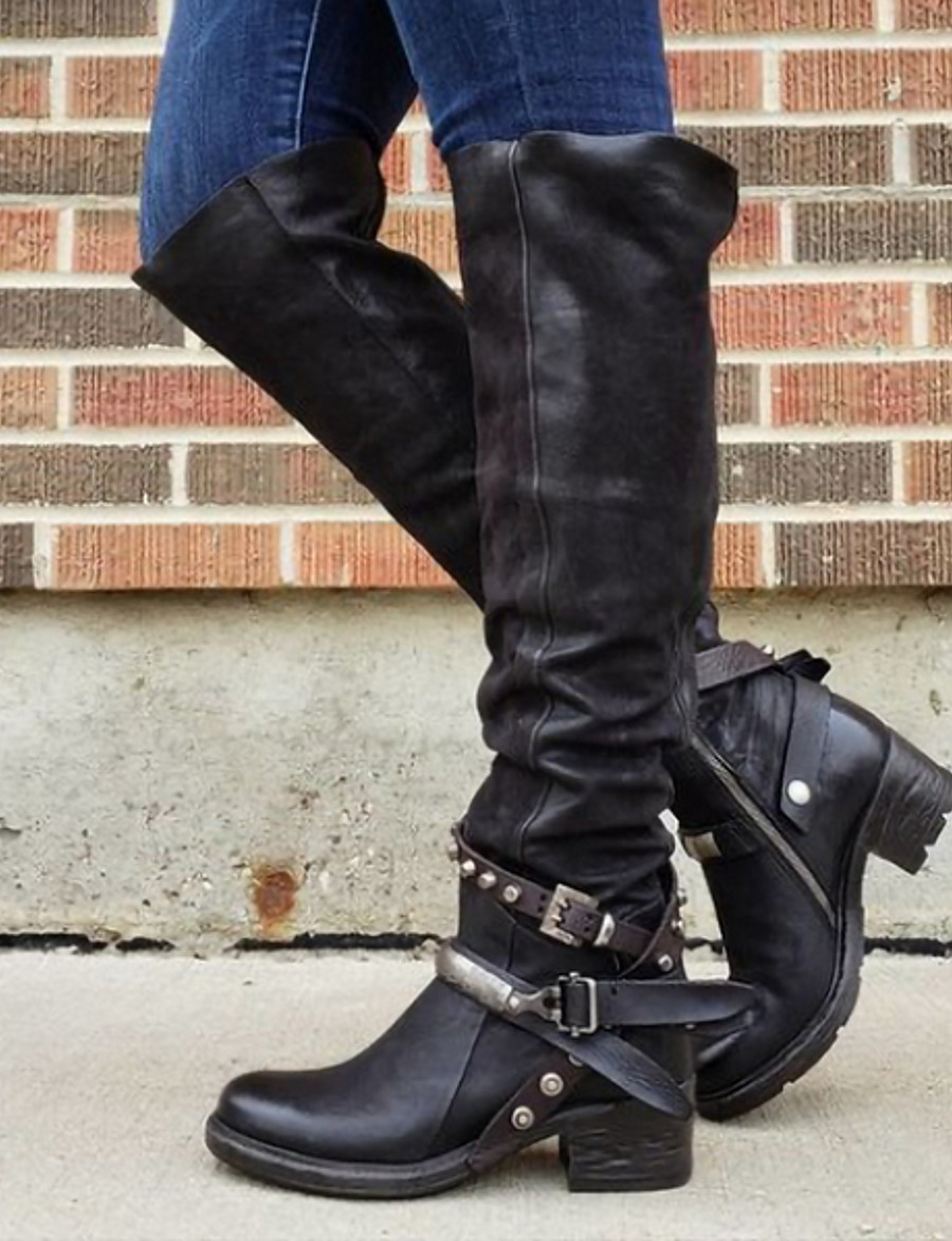 Women's Boots Block Heel Boots Motorcycle Boots Riding Boots Low Heel Round Toe Over The Knee Boots Vintage Daily PU Buckle Solid Colored Wine Black Brown / Knee High Boots