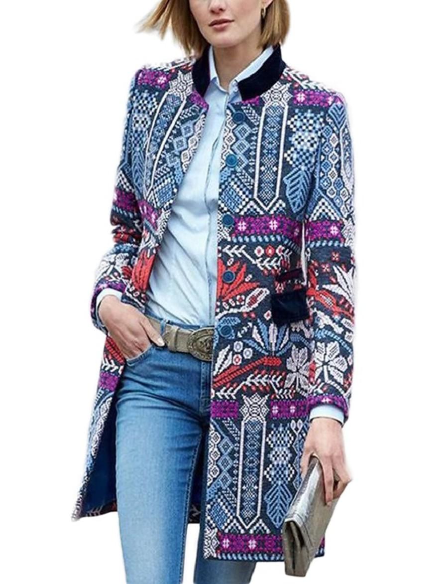 Women's Daily Fall & Winter Long Kimono Jacket, Geometric Straight Collar Long Sleeve Cotton Blue