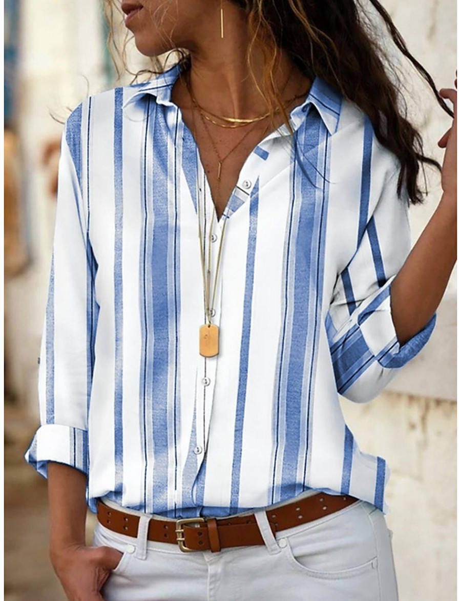 Women's Blouse Shirt Striped Long Sleeve Shirt Collar Tops Basic Top Blue Red Yellow