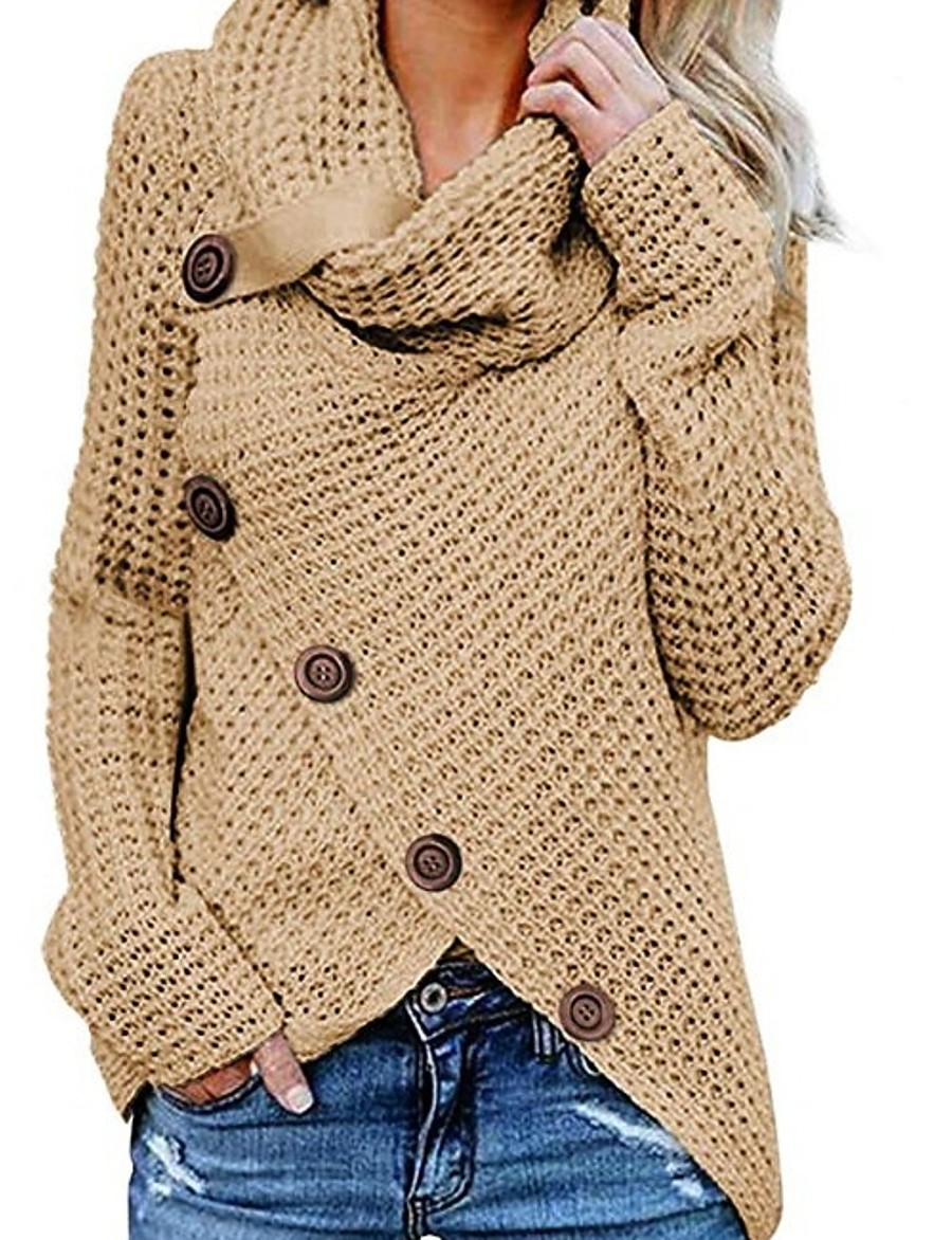 Women's Solid Colored Pullover Long Sleeve Sweater Cardigans Turtleneck Black Wine Khaki