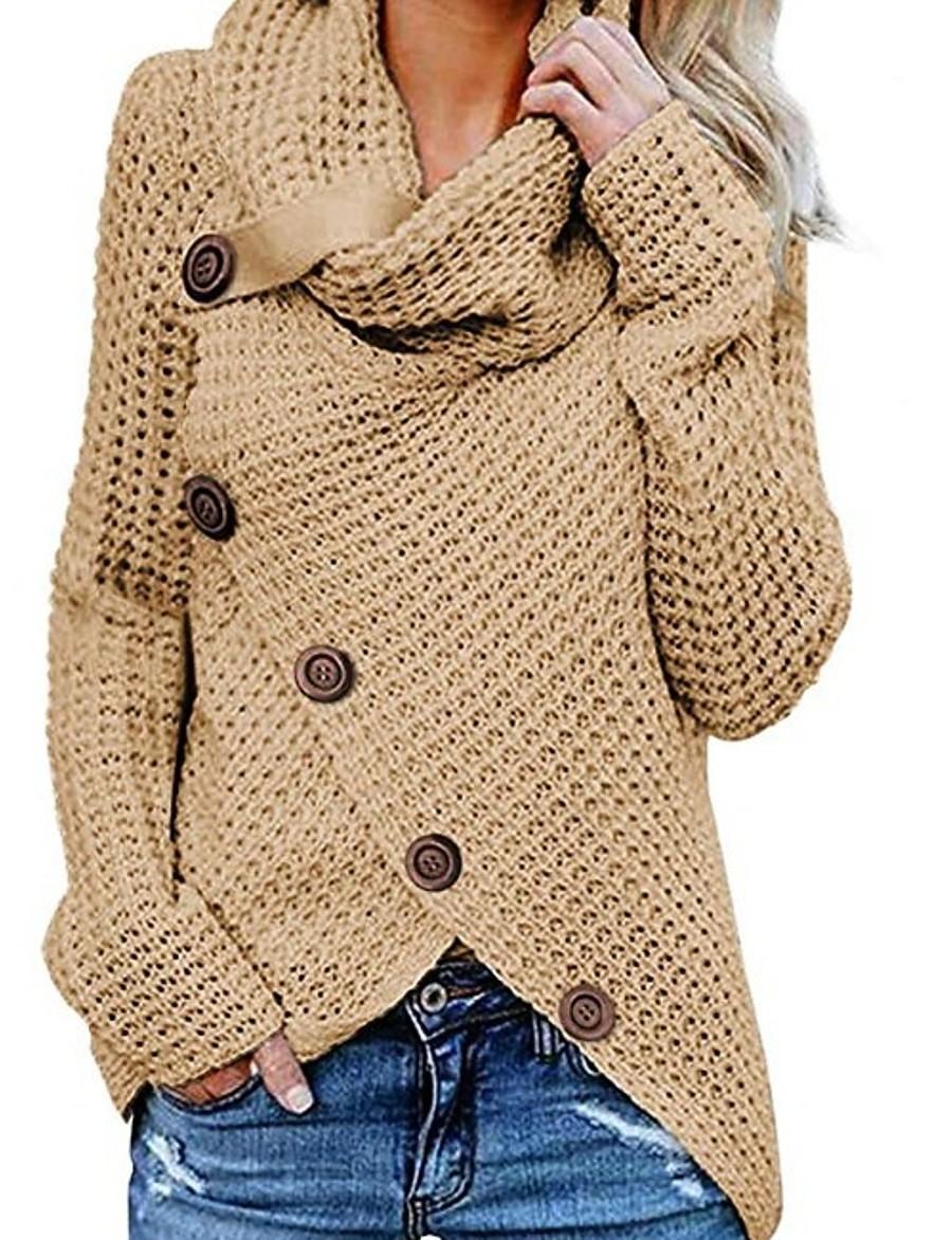 Women's Solid Colored Long Sleeve Pullover Sweater Jumper, Turtleneck Black / Wine / Khaki S / M / L