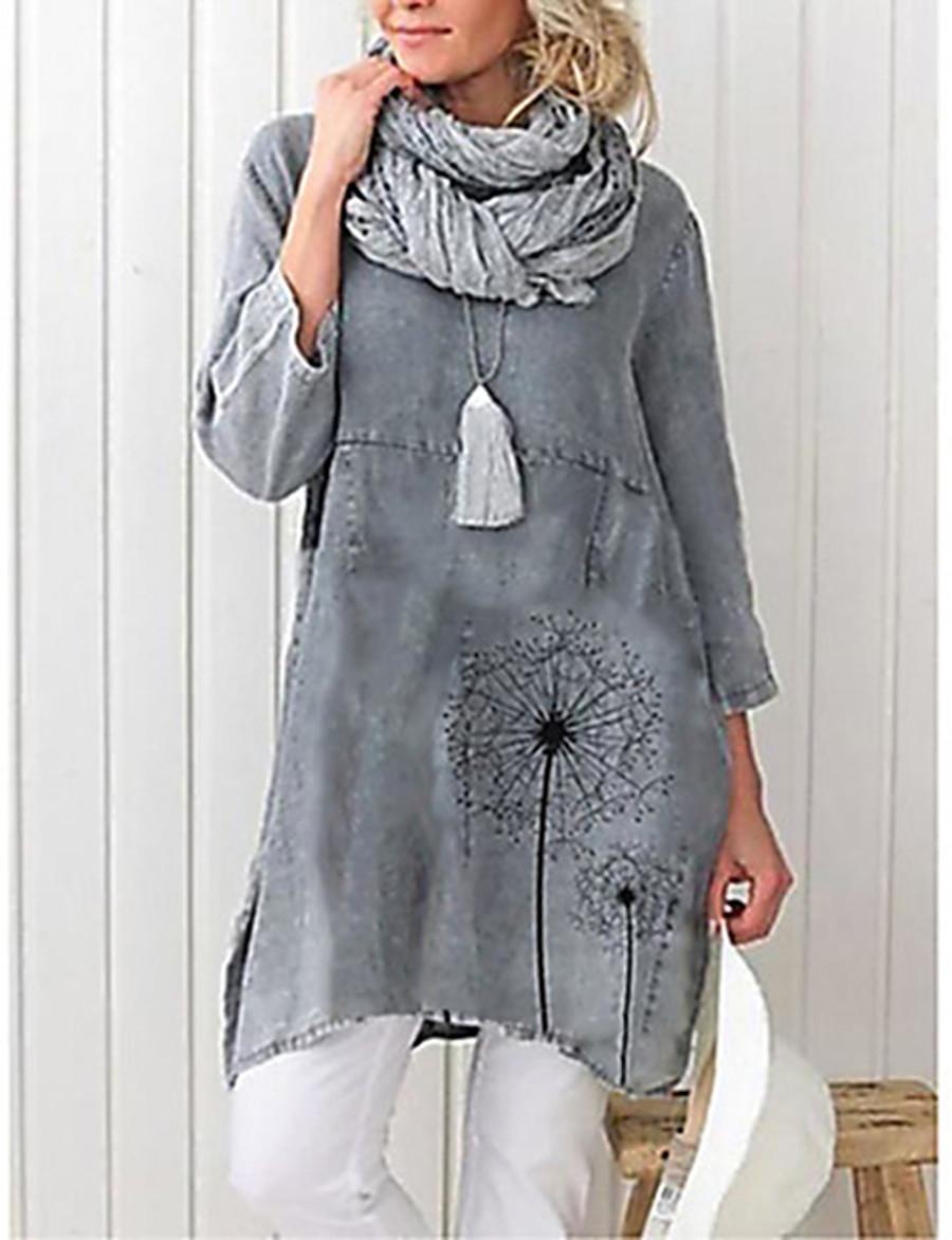 Women's Daily Plus Size Blouse - Geometric Gray