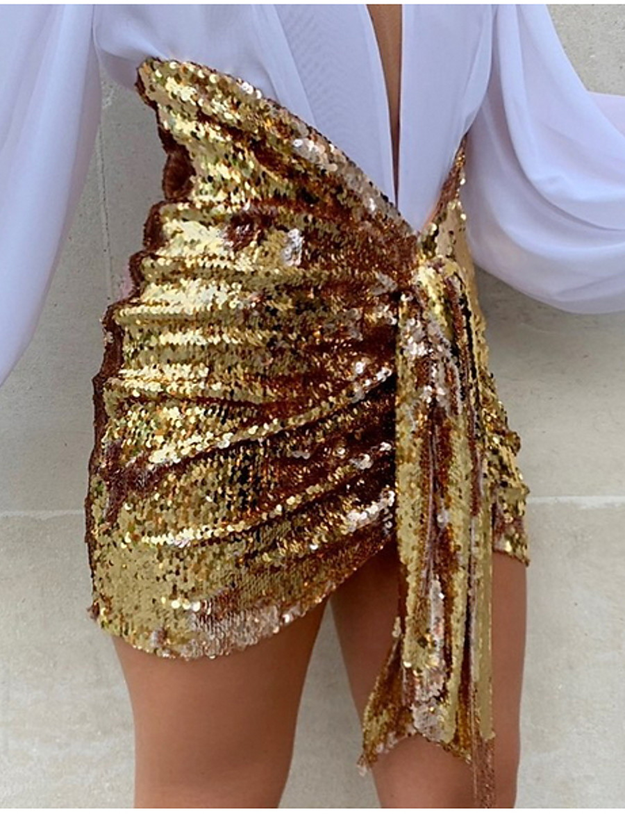 Women's Sexy Mini Bodycon Skirts - Solid Colored Sequins Black Gold Silver S M L