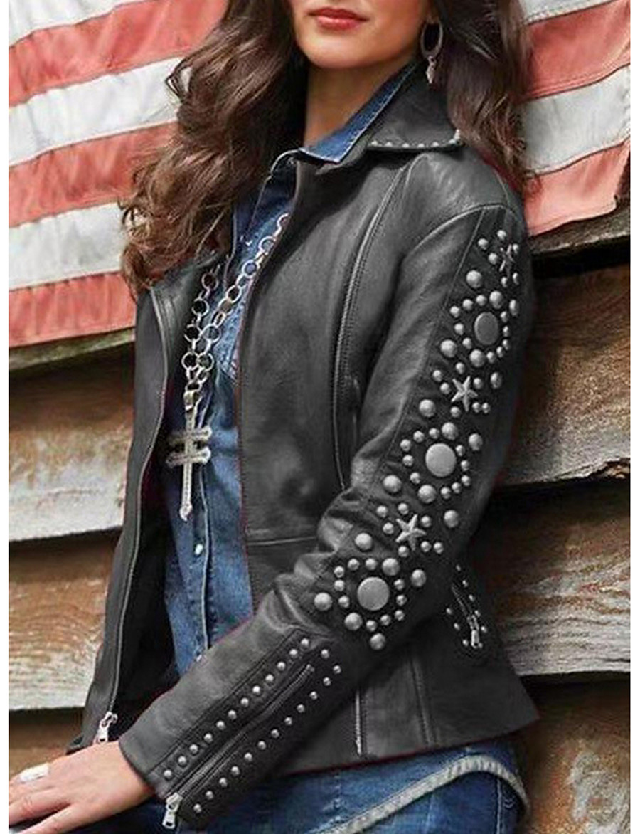 Women's Faux Leather Jacket Regular Solid Colored Daily Black Blue Wine Brown S M L XL