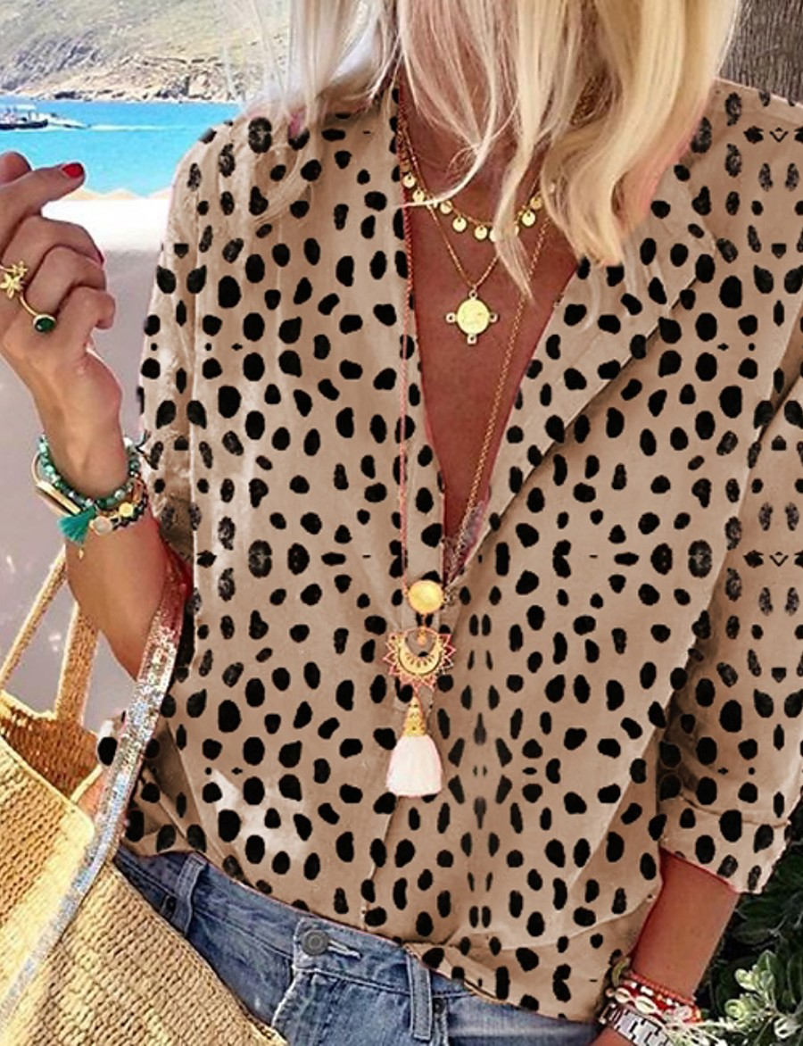Women's Leopard Shirt Daily Shirt Collar Khaki / Silver