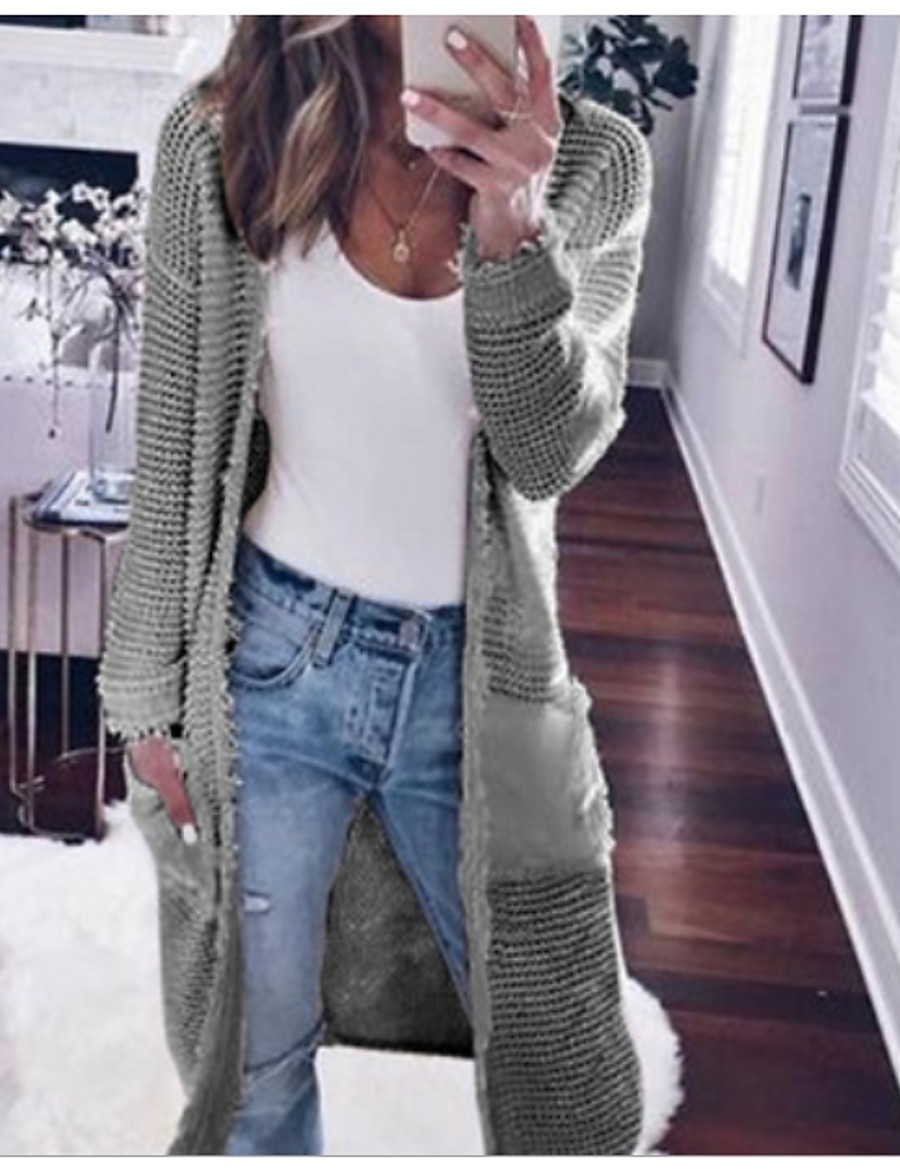 Women's Solid Colored Long Sleeve Loose Cardigan Sweater Jumper, V Neck Black / Wine / White S / M / L