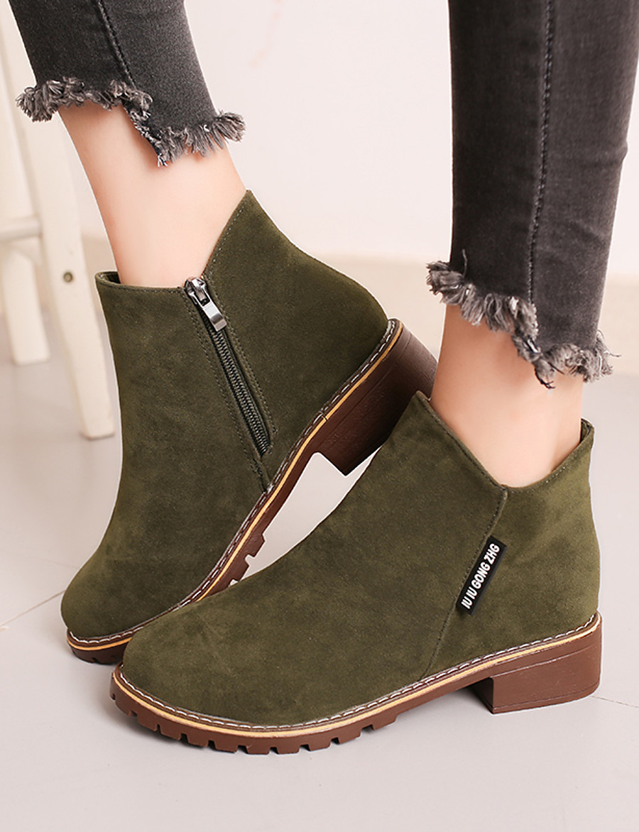 Women's Boots Block Heel Round Toe Suede Fall / Winter Black / Yellow / Green