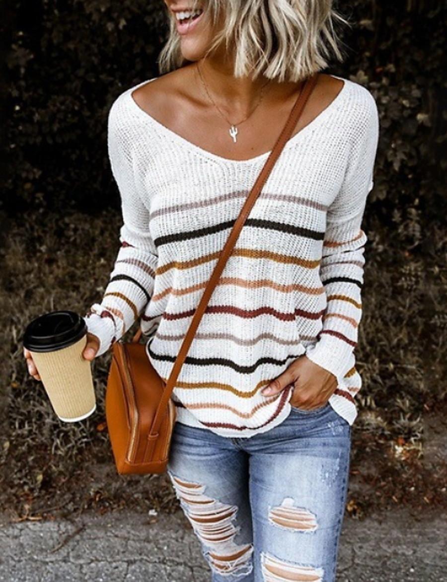 Women's Striped Long Sleeve Loose Pullover Sweater Jumper, V Neck Black / White / Blue S / M / L