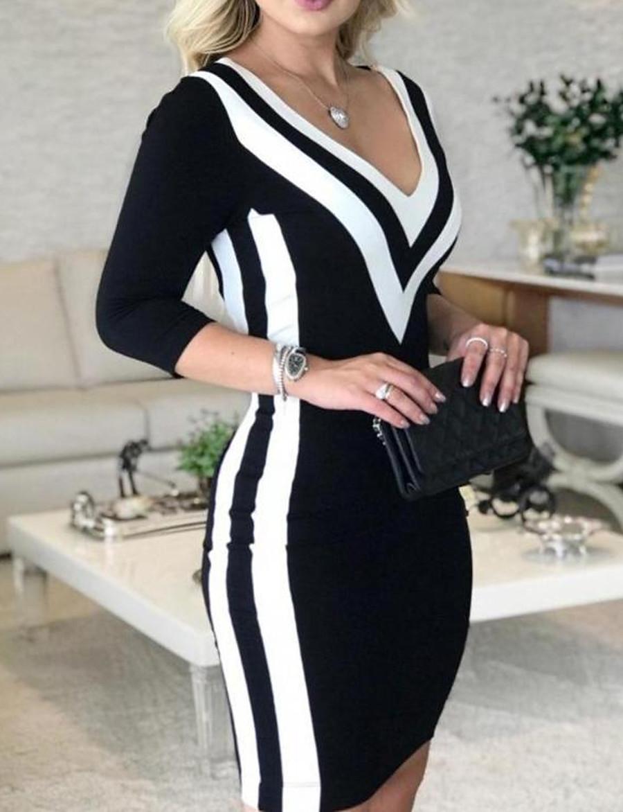 Women's Black Dress Bodycon Striped Color Block Deep V Stripe S M