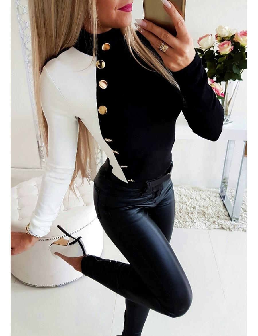 Women's Daily Loose Blouse - Color Block Halter Neck Black