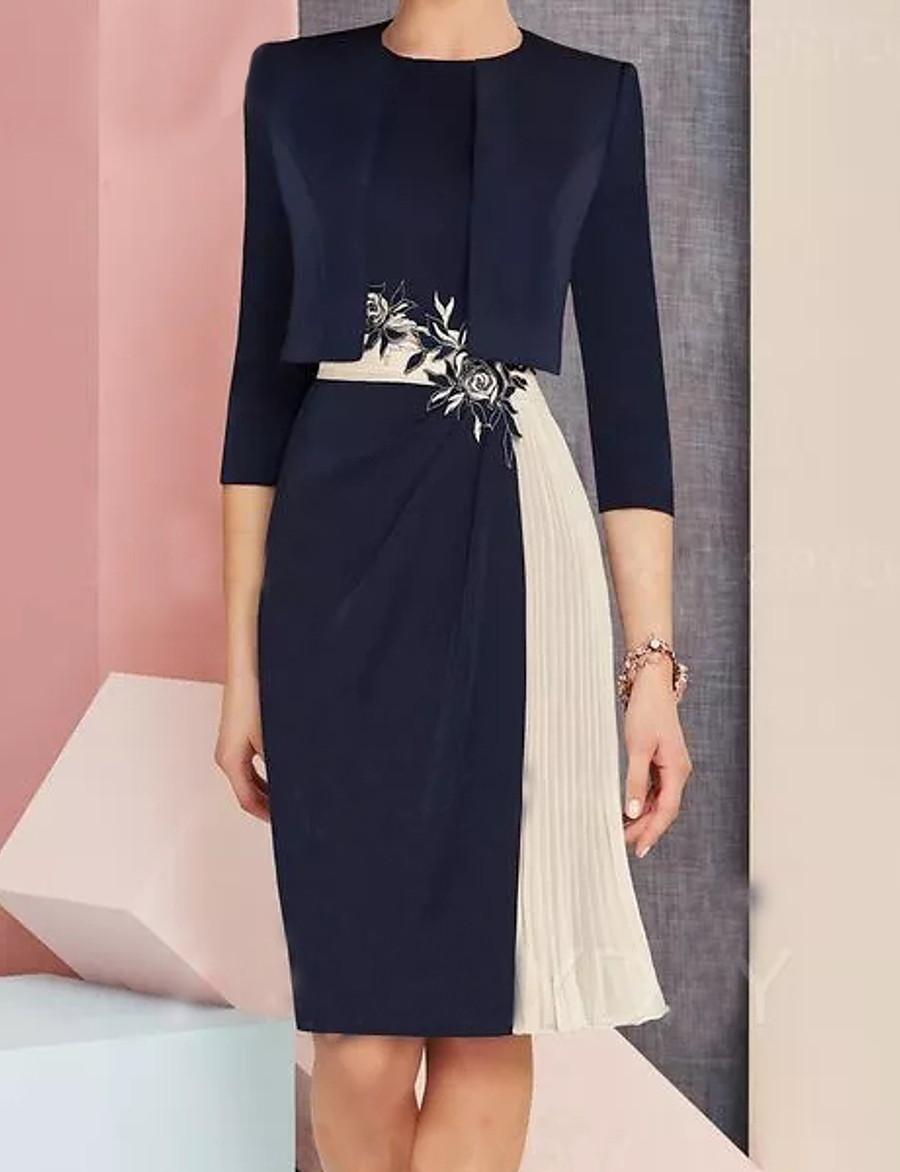 Women's Navy Blue Dress Shift Color Block M L
