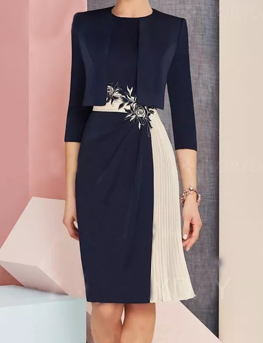 Women's Shift Dress - 3/4 Length Sleeve Color Block Navy Blue M L XL XXL XXXL