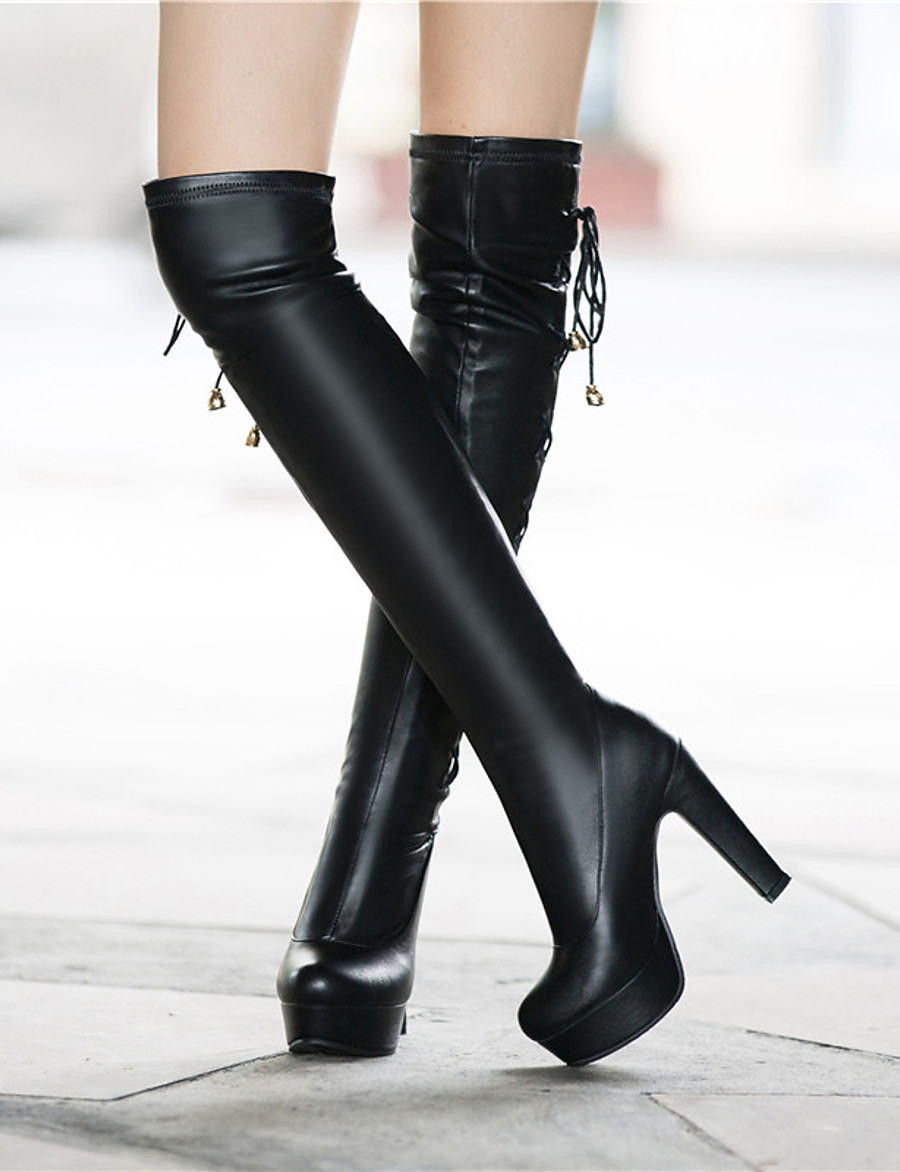 Women's Boots Over-The-Knee Boots Chunky Heel Round Toe Bowknot PU Over The Knee Boots Classic Fall & Winter Black / White / Party & Evening