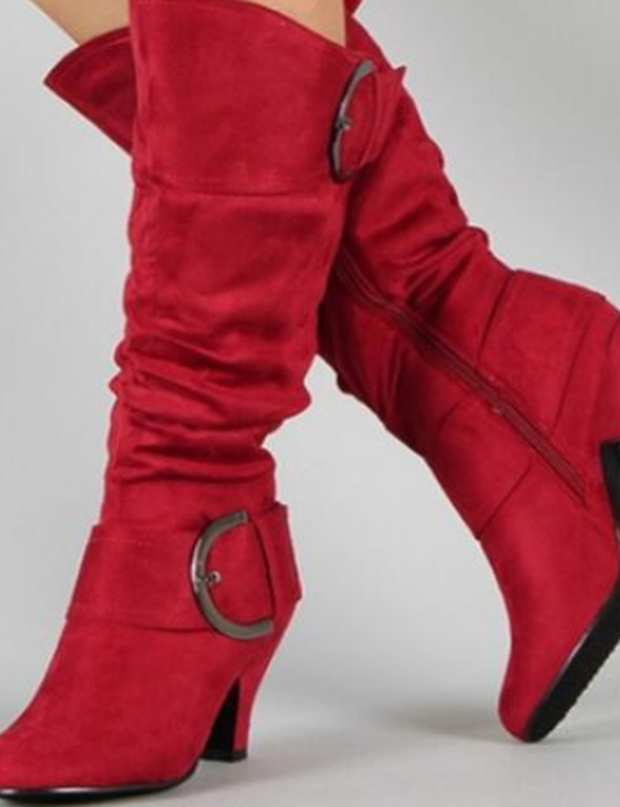Women's Boots Chunky Heel Round Toe Suede Mid-Calf Boots Fall & Winter Black / Purple / Red