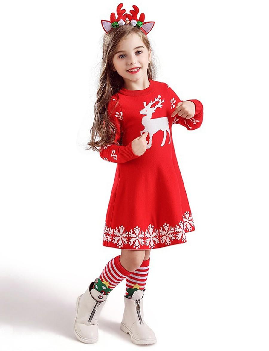 Kids Toddler Little Girls' Dress Deer Snowflake Christmas Animal Print Blue Red Knee-length Short Sleeve Active Sweet Dresses Christmas Slim