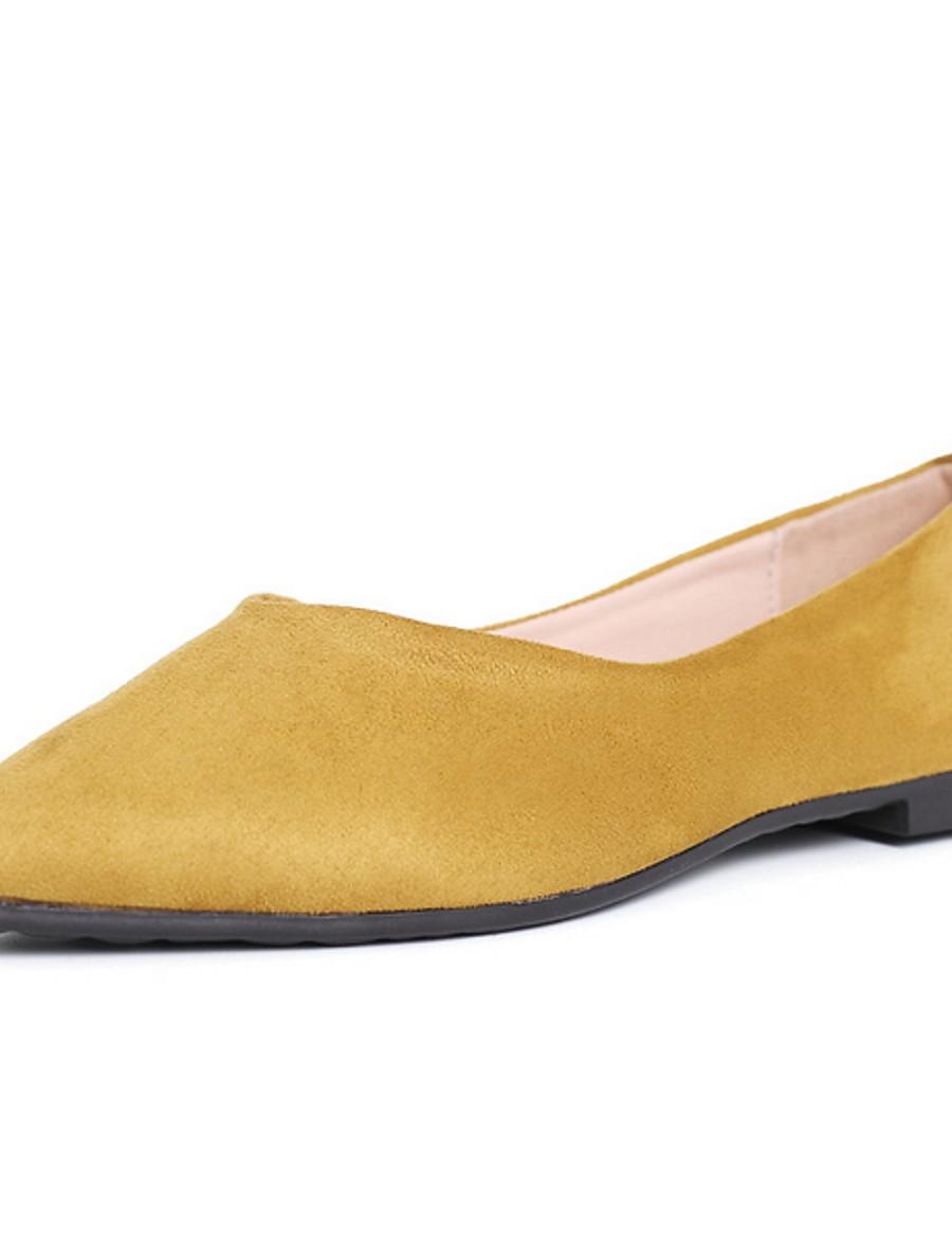 Women's Flats Low Heel Pointed Toe Outdoor Cowhide PU Almond / Black / Yellow