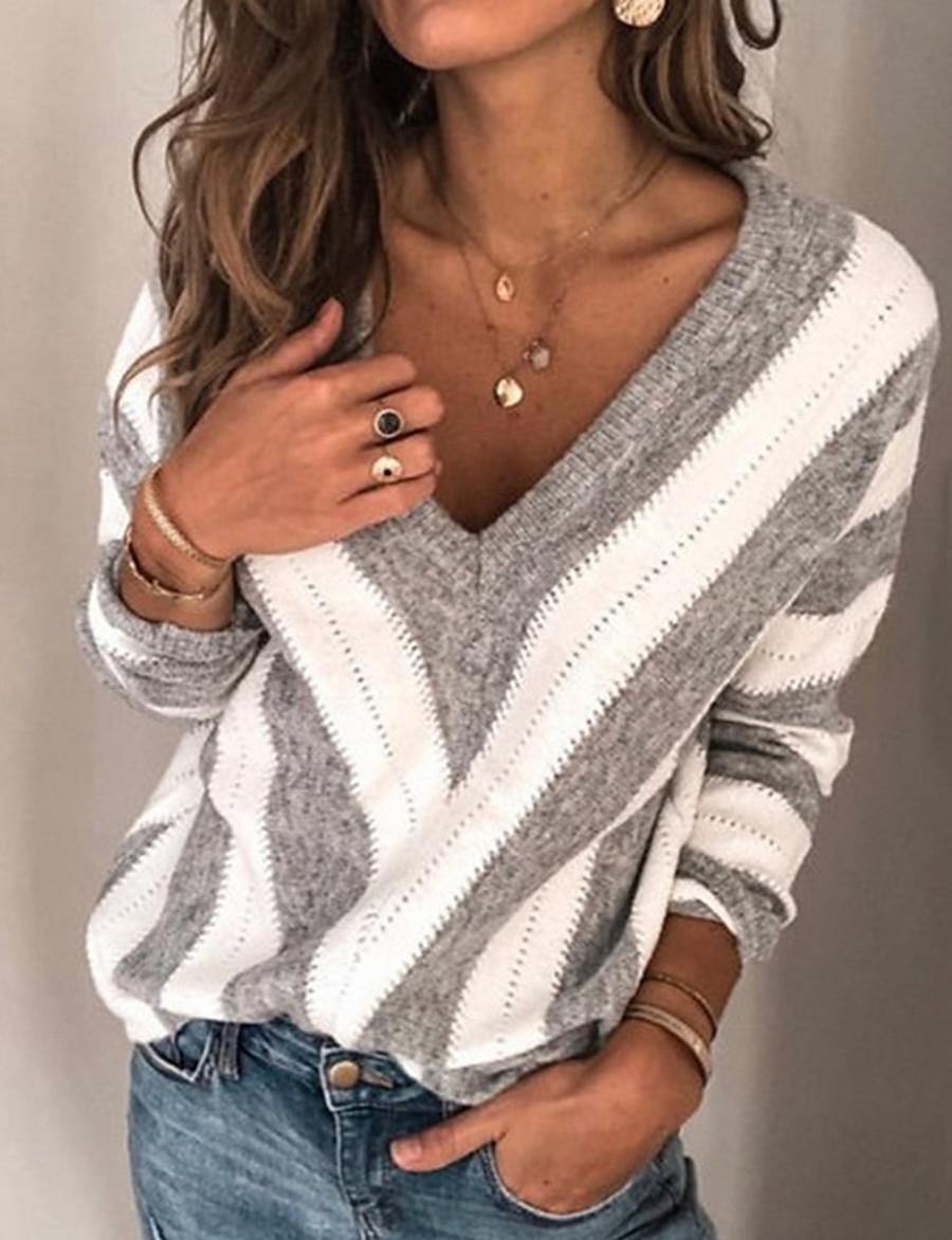 Women's Striped Long Sleeve Plus Size Pullover Sweater Jumper, V Neck Winter Wine / Purple / Gray S / M / L