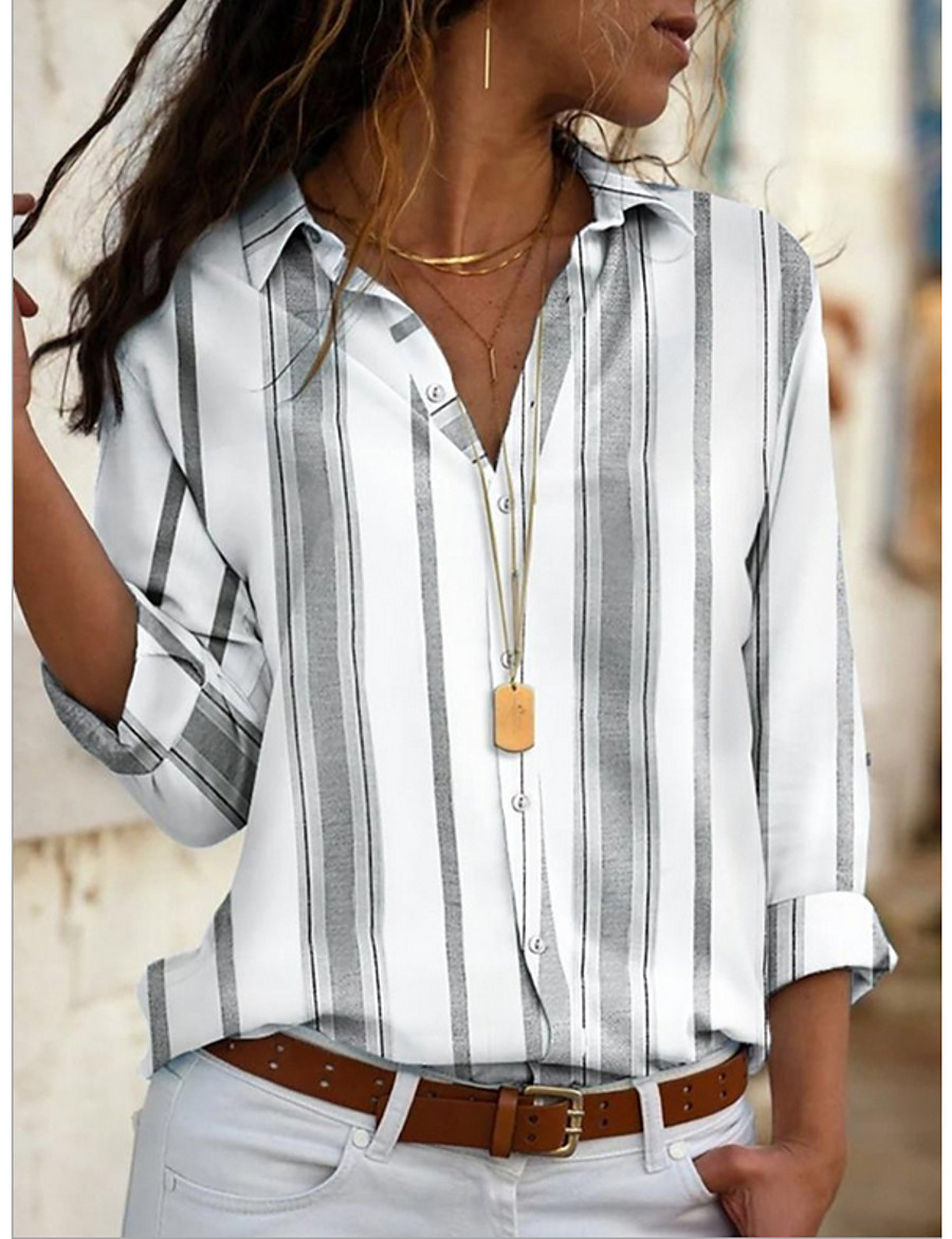 Women's Striped Shirt Daily Shirt Collar Blue / Red / Yellow / Gray