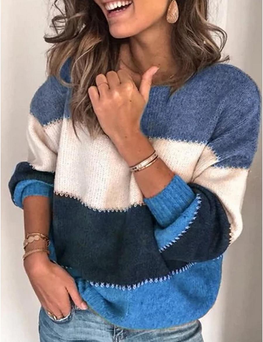 Women's Striped Long Sleeve Loose Pullover, Round Neck Black / Purple / Orange S / M / L
