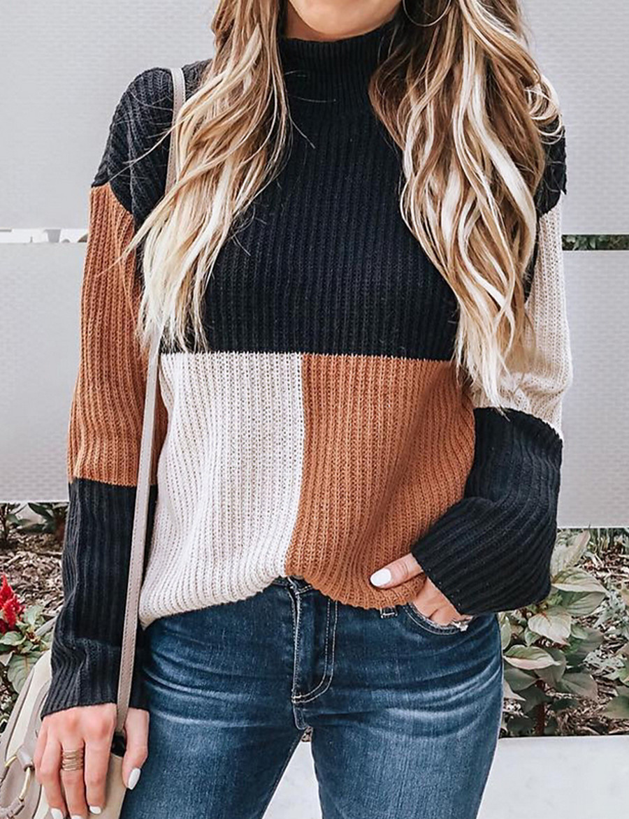 Women's Color Block Long Sleeve Pullover Sweater Jumper, Round Neck Black S / M / L