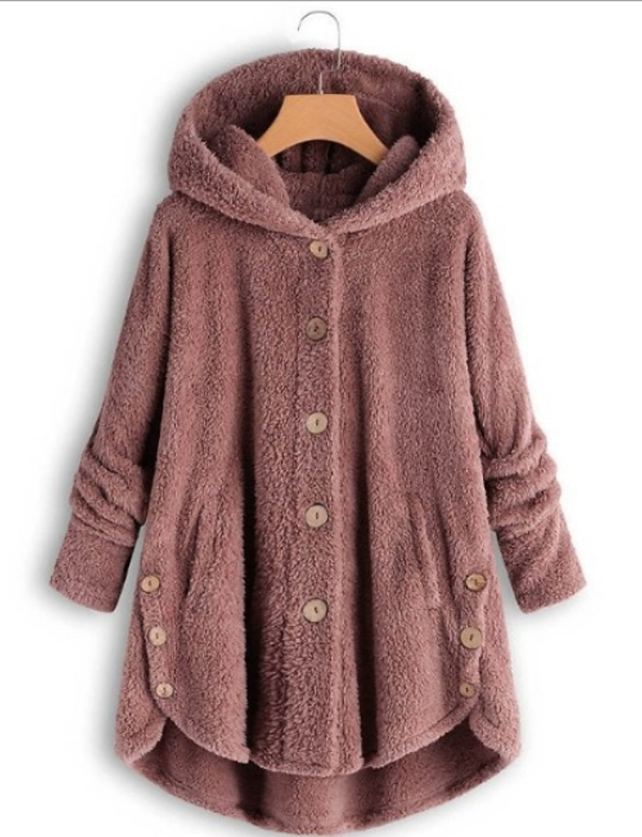 Women's Teddy Coat Long Solid Colored Daily Black Yellow Blushing Pink Wine S M L XL