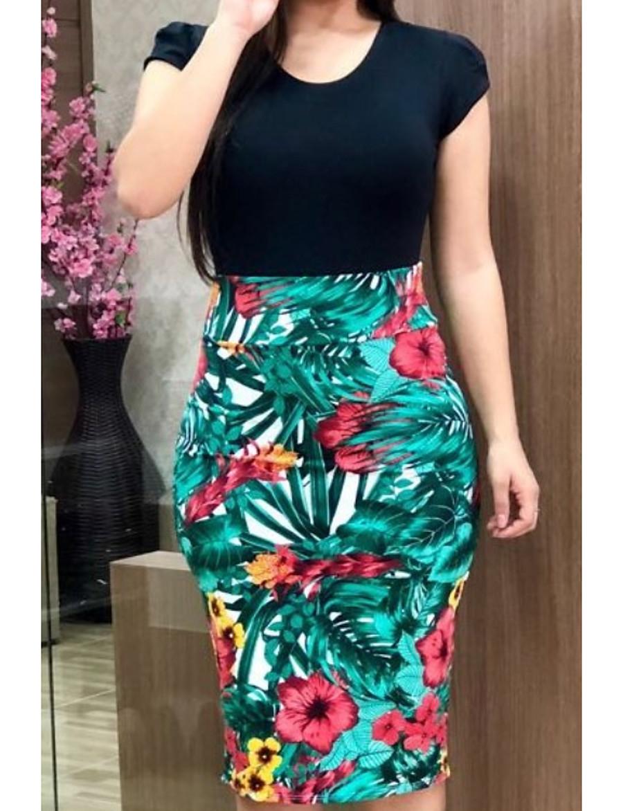 Women's Elegant Sheath Dress - Floral Print Black Red Rainbow S M L XL