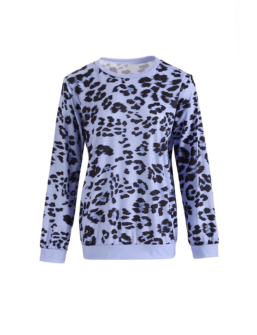 Women's Daily Weekend Basic T-shirt - Leopard Blue, Print Blushing Pink