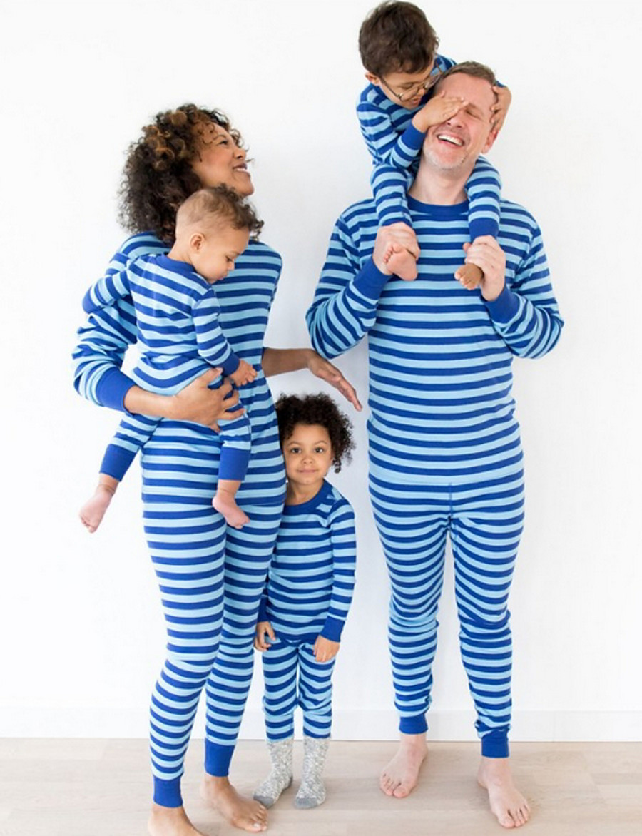 Daddy and Me Striped Christmas Clothing Set Blue