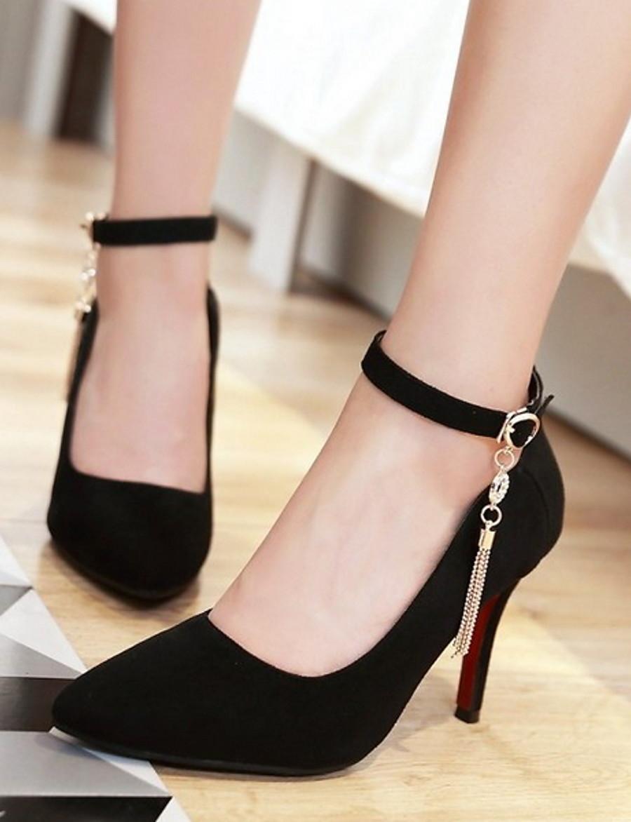 Women's Heels Stiletto Heel Pointed Toe Suede Fall & Winter Black / Almond / Green