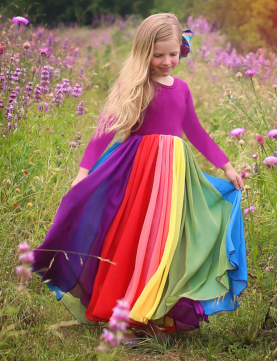 Kids Toddler Girls' Active Boho Solid Colored Patchwork Long Sleeve Maxi Dress Fuchsia
