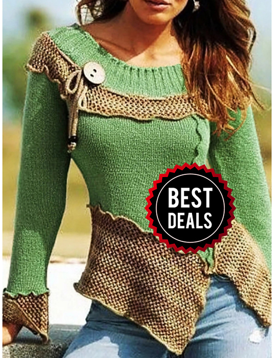 Women's Color Block Long Sleeve Pullover Sweater Jumper, Round Neck Purple / Blue / Red S / M / L