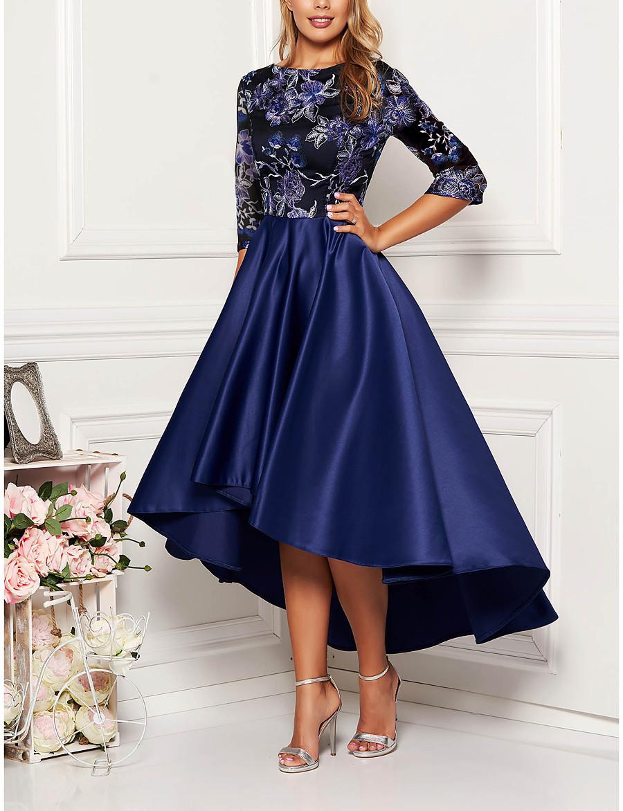 Women's Swing Dress Midi Dress Half Sleeve Solid Color Floral Print Fall Spring Elegant 2021 Navy Blue M L XL XXL 3XL