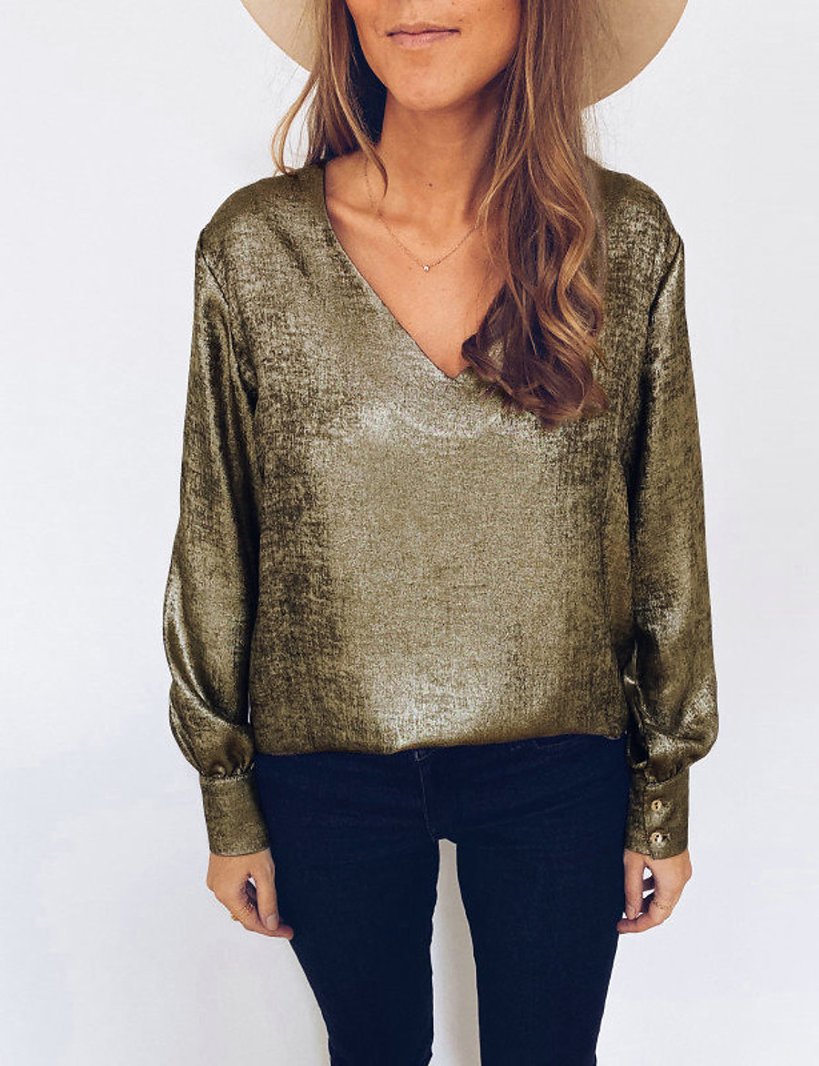Women's Daily Basic Blouse - Solid Colored Gold