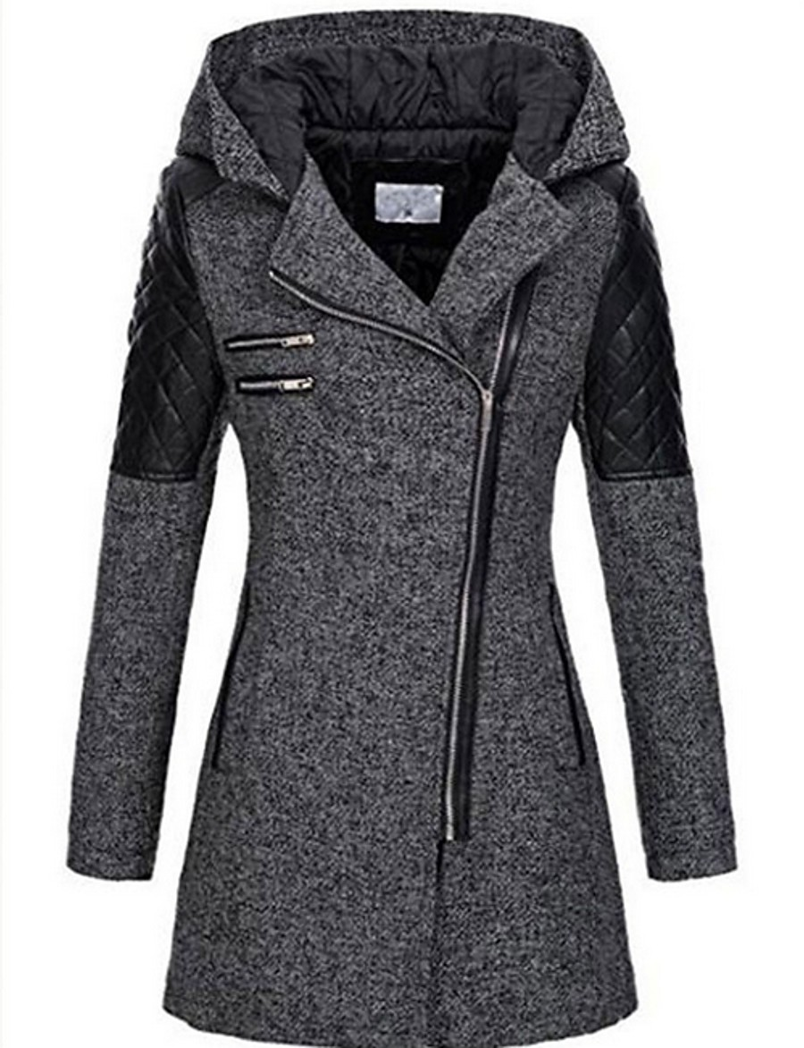 Women's Fall & Winter Trench Coat Long Solid Colored Daily black. Dark Gray S M L XL