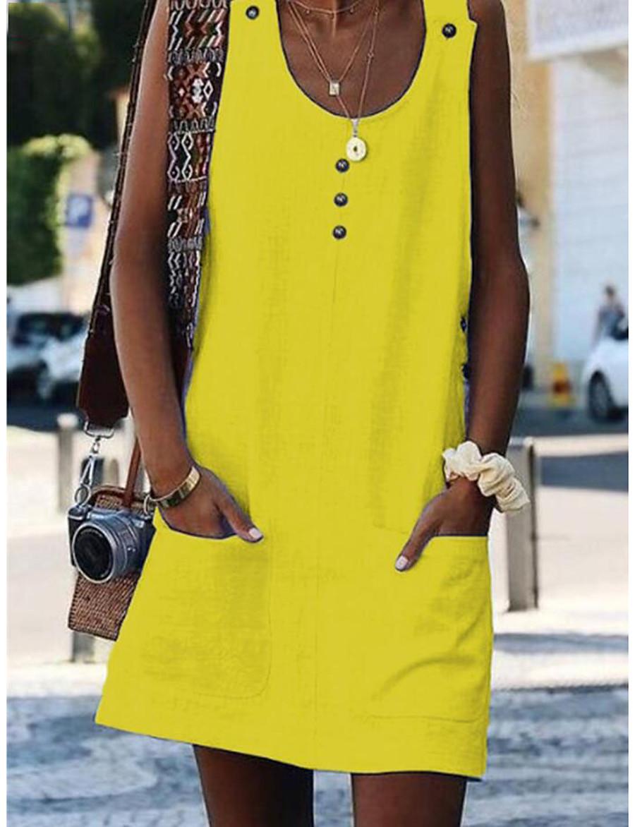 Women's Mini Yellow Fuchsia Dress Beach Shift S M