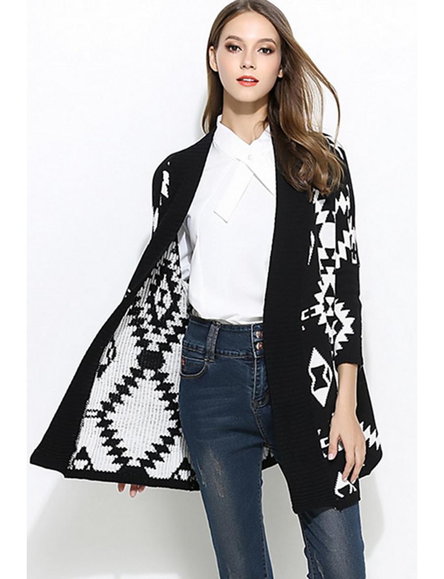 Women's Geometric Long Sleeve Cardigan Sweater Jumper, Collarless Black / Beige One-Size