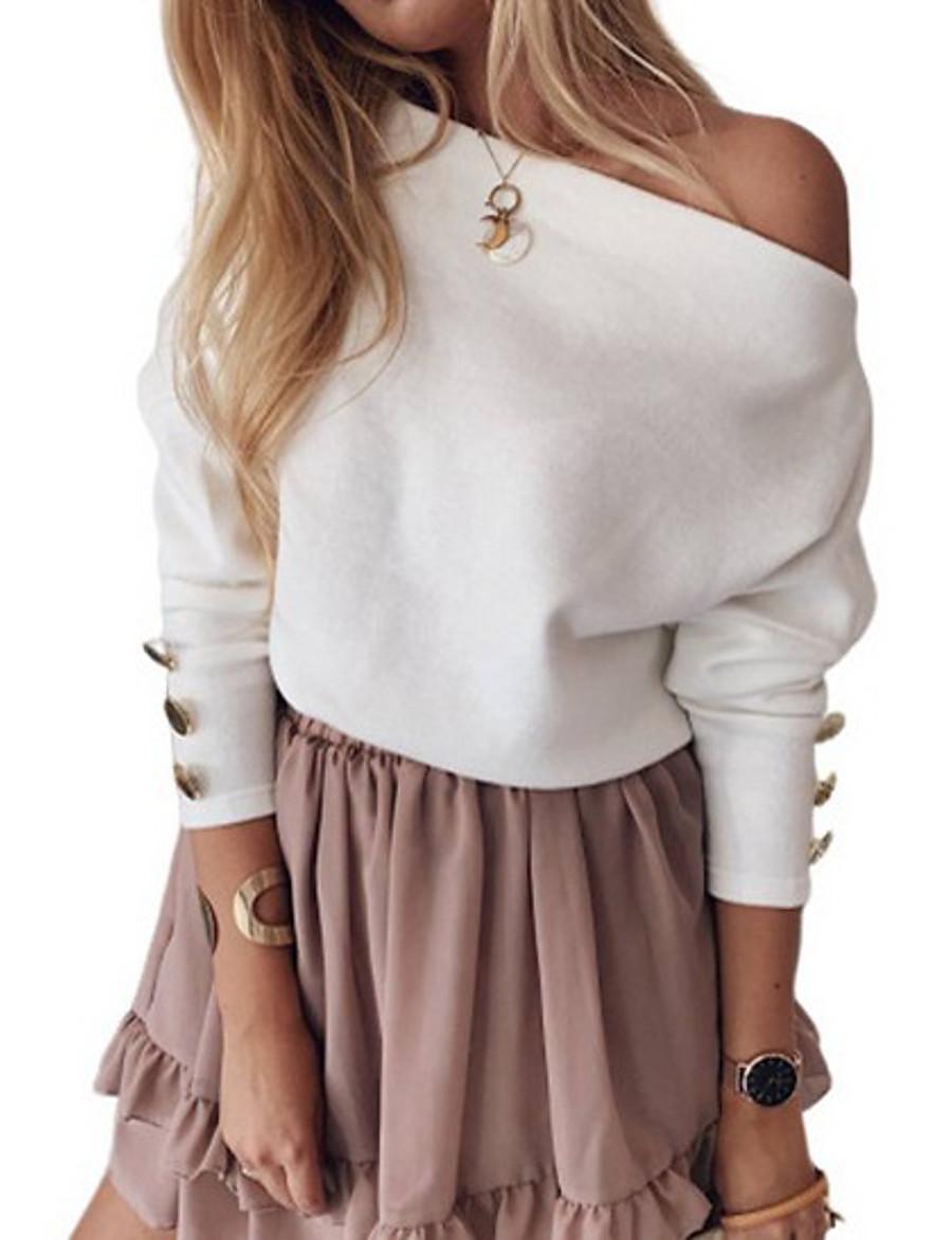 Women's Basic Sweatshirt - Solid Colored White S