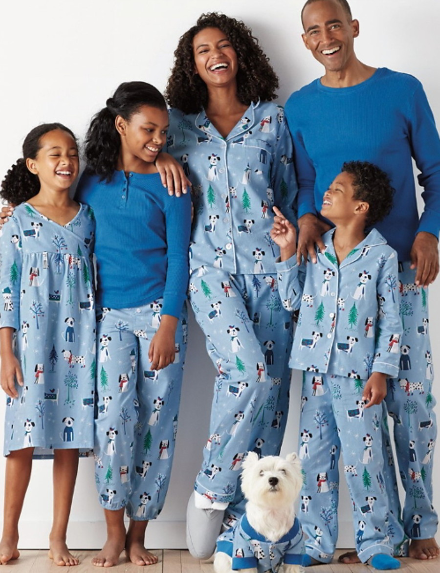 Family Look Animal Christmas Clothing Set Blue