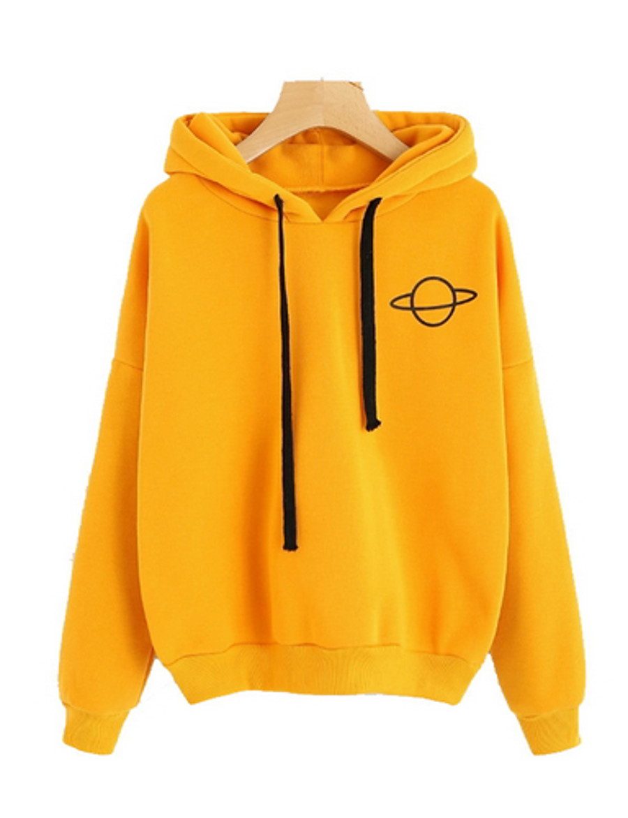 Women's Hoodie Solid Colored Basic Black Orange Gray S M L XL